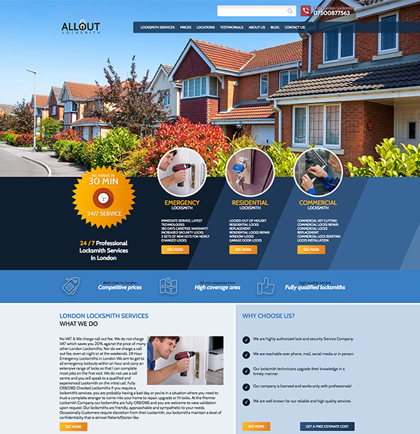 london locksmith website design