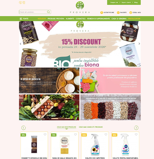 Natural products online store development