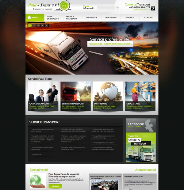 Transportation company website design