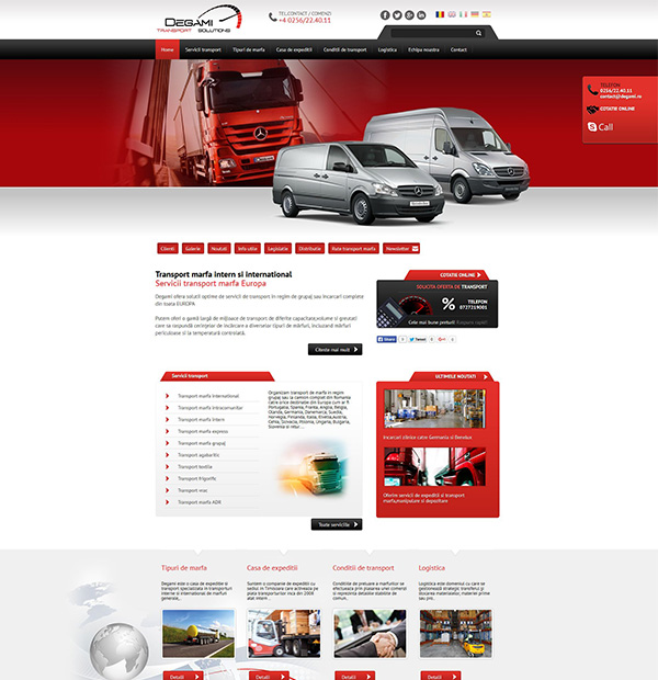 Transportation and shipping company website design