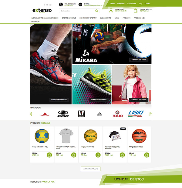 sports equipment online store design