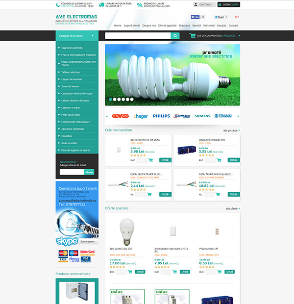Electrical equipment online store design