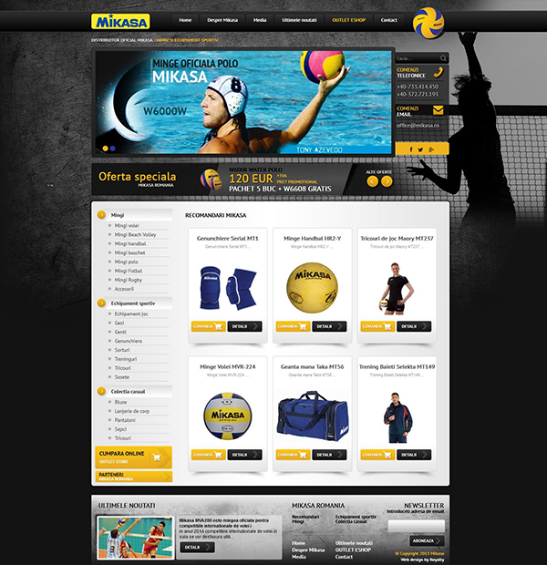 Web site development for sports equipment