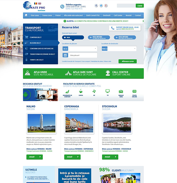 Transport online booking website development