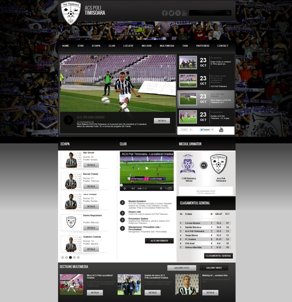Footbal team website design