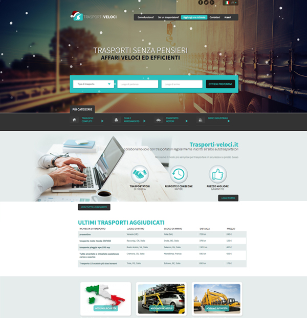 Transport auctions website design