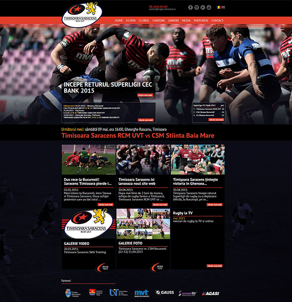 Rugby team website design